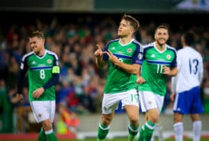 Picture - Kevin Scott / Press Eye Northern Ireland's Jamie Ward scores in action during the 2018 FIFA World Cup Qualifier and opening game at the newly developed National Stadium - Windsor Park on 8th October 2016 , Belfast , Northern Ireland Photo by Kevin Scott / Press Eye